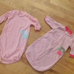 Two pink  sleep sacks by Carter's
